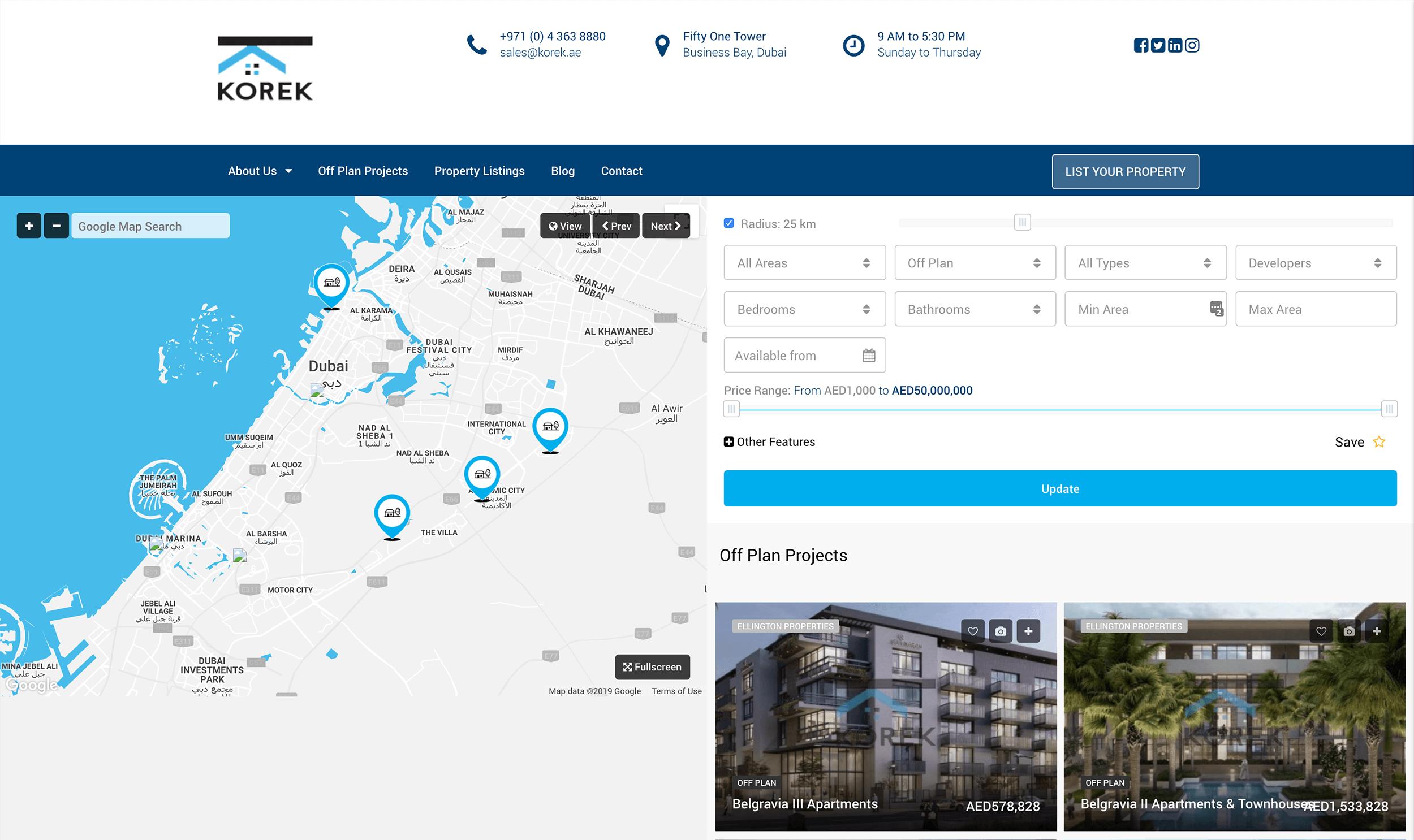 Korek Real Estate website
